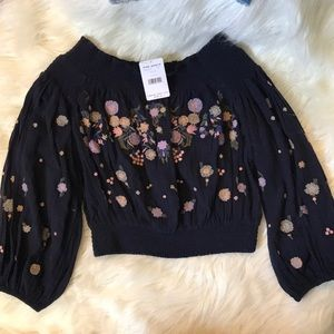 NWT Free People ruched embroidered floral top S